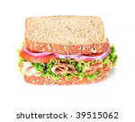 wholegrain turkey sandwich isolated on white - stock photo