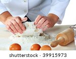 making dough for tasty baked goods - stock photo