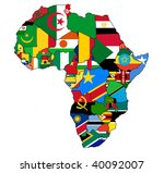 political map of africa with country borders and national flags - stock photo