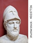 Ancient Greek statesman Pericles - marble portrait bust in Vatican - stock photo