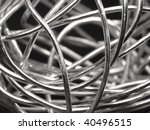 abstract silver wire - stock photo