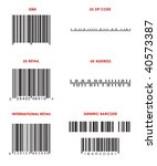 Bar codes of various formats (UPC, ISBN, Zip Code, UK address and generic bar codes. ALL Bar Codes are correct format but are FAKE. - stock photo