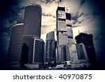 Construction of a skyscraper - big business of a financial building - stock photo