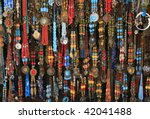 Vibrant ethnic necklaces from the village market, Chefchaouen, Morocco - stock photo