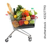 metal shopping trolley filled with products isolated on white - stock photo