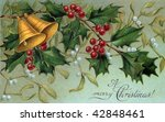 Christmas bells, holly, and mistletoe - a circa 1910 vintage Christmas illustration - stock photo