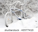 Bike in snow - stock photo
