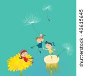Vector illustration of three little thumbelinas playing among dandelions. - stock vector