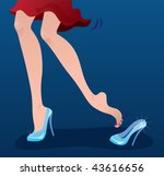 Cinderella's shoes. Vector illustration of a modern Cinderella losing a crystal shoe - stock vector