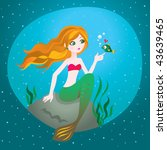 Under the sea. Vector illustration of a beautiful redhead mermaid. - stock vector
