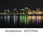 Halifax Nova Scotia at night. Taken from across the harbor in Dartmouth December 09 - stock photo