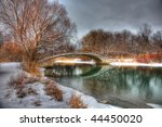 Cold Cloudy Snowy Outdoor Winter Park Scene - stock photo