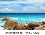 Seychelles seascape. Anse Patates. La Digue Island - stock photo
