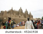 MALI - AUGUST 17: Mosque of Djenne, Sudanese style, was declared a world heritage site by Unesco in 1988, August 17, 2009 in Djenne, Mali - stock photo