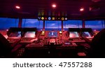 wheelhouse in modern ship - stock photo