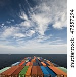 large container vessel ship and the horizon - stock photo