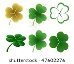 A set of 6 different shamrock designs - stock vector