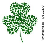 A Shamrock made of different sized clovers - stock vector