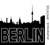 Berlin skyline black silhouette on white illustration - stock vector