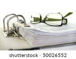 open folder with documents filed - stock photo
