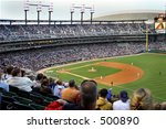 Overview of baseball stadium - stock photo