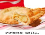 Delicious slice of freshly baked apple pie on a spatula - stock photo