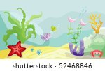 Sea bottom with fishes, starfish, crab and seaweed - stock vector