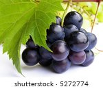 Close-up of bunch of black grapes on white background - stock photo