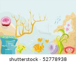 Sea animals with the sunk ship under water - stock vector