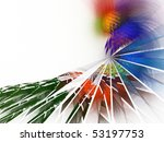 Colorful fractal broken / shattered glass abstract image isolated on white - stock photo