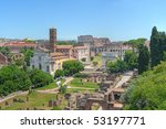 Hill-top view of the Roman Forum - stock photo