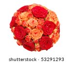 Bouquet of orange and red roses isolated on white - stock photo