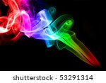Colorful rainbow smoke on black background - stock photo