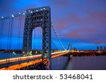 George Washington Bridge late evening light - stock photo