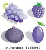 Set dark blue and lilac fruit - stock vector