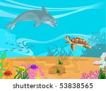 Vector illustration of the seabed and its inhabitants - stock vector