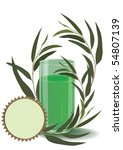 vector illustration of the glass with branches of eucalyptus (eps 10) - stock vector