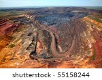 Open-cast mine, general view - stock photo