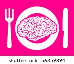 Brain food on plate with fork and knife - vector - stock vector