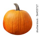 Single fresh pumpkin isolated on white background - stock photo