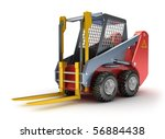 Forklift machine, isolated on white. 3D render. - stock photo