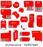 red sticker and tag set with bar codes. vector illustration - stock vector