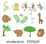 Jungle animals. - stock vector