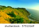 Panoramic view of Pacific coast line in southern california - stock photo