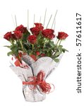 Bouquet of red roses - stock photo