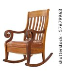 Antique wooden rocking chair isolated on white background - stock photo