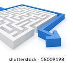 Maze puzzle solved - more variations in portfolio - stock photo