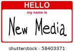 hello my name is new media red sticker - stock photo