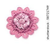 Crocheted brooch - stock photo