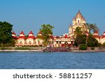 dakshineswar Kali Temple in Kolkata, India - stock photo